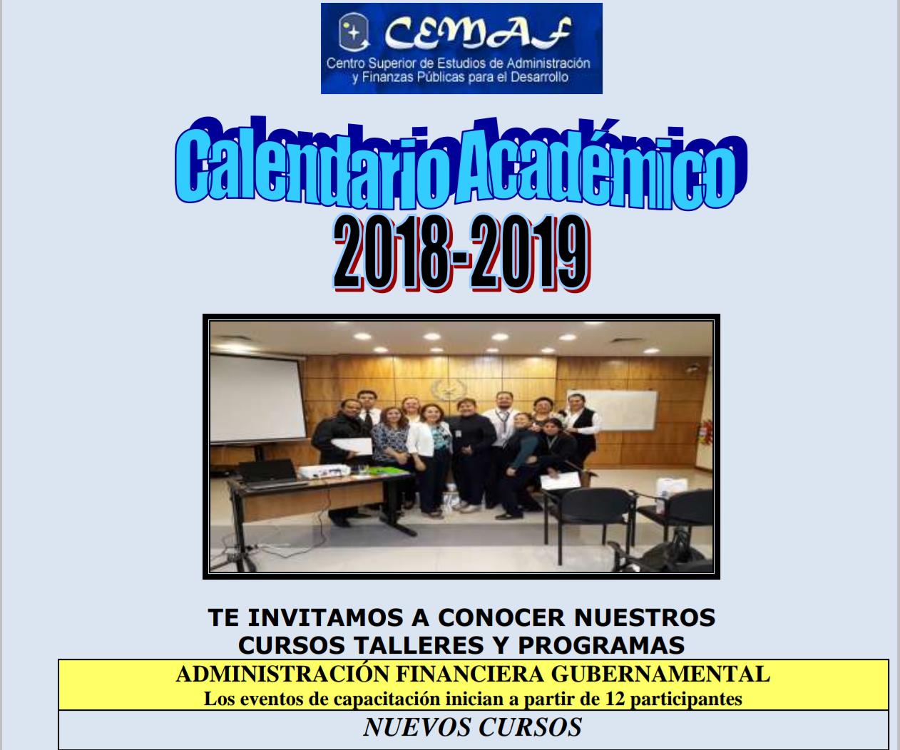 CALENDARIO ACADÉMICO 2018 – 2019