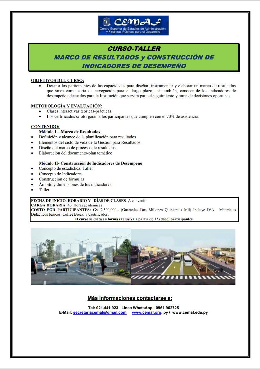 CURSO – TALLER MARCO DE RESULTADOS y CONSTRUCCIÓN DE INDICADORES DE DESEMPEÑO